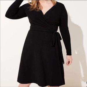Loft Plus Long Sleeve Black Wrap Dress